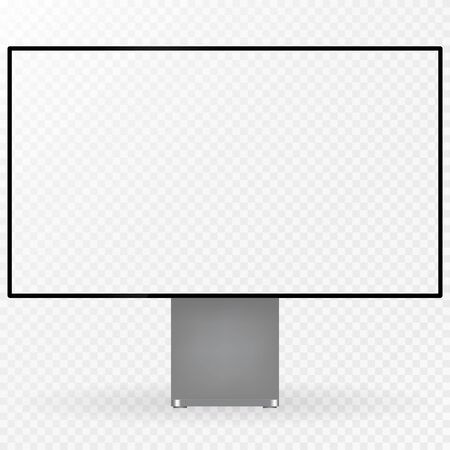 Desktop computer display isolated on white background. Modern computer mockup.