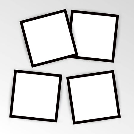 set of empty photo frame with black border and white rectangle element. instant photo frame card mockup template decoration for design.