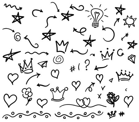 Hand drawn big set elements, black on white background. Arrow, heart, love, star, leaf, sun, light, flower, daisy, crown, king, queen,Swishes, swoops, emphasis ,swirl, heart, for concept design