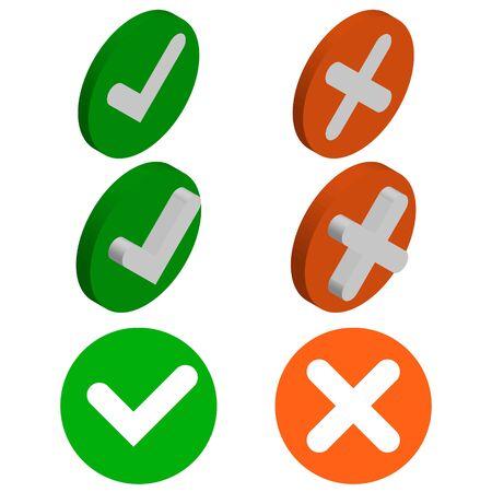 Häkchen isometrisches Symbol. 3D-Häkchen-Zeichen. Grünes Häkchensymbol isoliert auf weißem Hintergrund. Einfache Markierungsgrafik flaches Design. Grüne Ja-Taste. Vektor-Illustration.