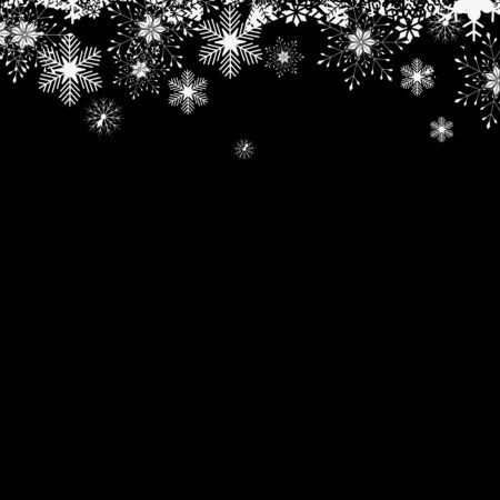 Christmas falling snow vector isolated on dark background. Snowflake transparent decoration effect. Xmas snow flake pattern. Magic white snowfall texture. Winter snowstorm backdrop illustration. Stock fotó