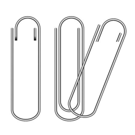 Metal paper clip and paper isolated on white background. Vector Illustration Foto de archivo - 132015432