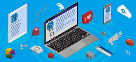Web development and coding. Cross platform development website. Adaptive layout internet page or web interface on screen laptop, tablet and phone.