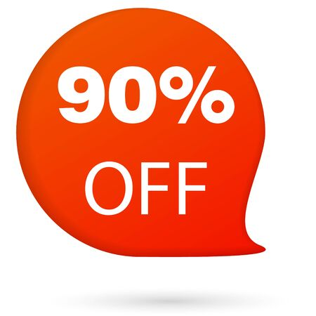 Discount up to 90 percent off speech bubble, Red Sale Sticker on white background - Vector