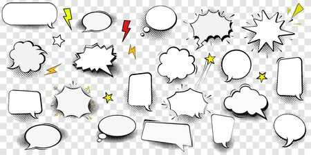 Big Set of Cartoon,Comic Speech Bubbles, Empty Dialog Clouds with Halftone Dot Background in Pop Art Style. Vector Illustration for Comics Book , Social Media Banners, Promotional Material Foto de archivo - 133099543