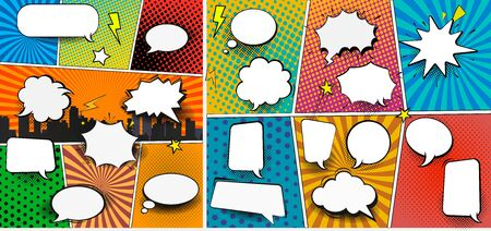 Colorful comic book background with blank white speech bubbles of different shapes in pop-art style. Rays, radial, halftone, dotted effects. Vector illustration Foto de archivo - 133099605