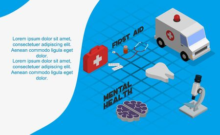 Isometric first aid composition with conceptual images of medicine box and its contents with human characters vector illustration