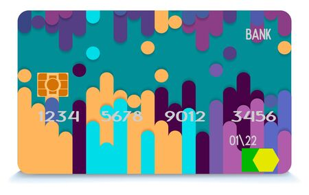 Credit card blue isolated on grey background with shadow. Vector, eps 10. Detailed glossy credit card concept. Abstract design for business, payment history, shopping malls, web, print. Illusztráció