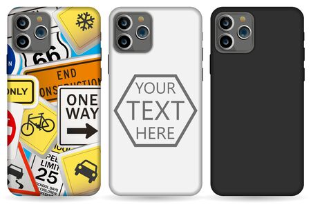 phone case mockup template illustration (whiteblack) Stock fotó