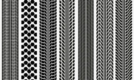 Colección de texturas de huellas de neumáticos vectoriales, marcas de neumáticos, banda de rodadura de neumáticos, patrón de silueta de marcas de banda de rodadura para máquina y vehículo Foto de archivo