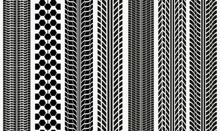 Collection textures of vector tire tracks, tire marks, tire tread, tread marks silhouette pattern for machine and vehicle 版權商用圖片