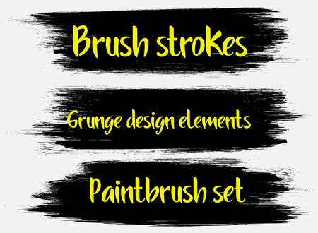 Brush strokes. Vector paintbrush set. Grunge design elements. Rectangle text boxes. Dirty distress texture banners. Ink splatters. Grungy painted objects. Foto de archivo - 133100483