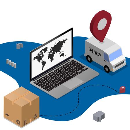Shipping service online isometric concept with laptop, truck, plane, boxes isolated on white background. Logistic digital shopping advert 3d design. Vector illustration for web, banner, ui, mobile app Çizim
