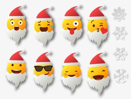 Emoji Santa Claus. Winter Holidays Emoticon. Smile Emoticon. Vector illustration