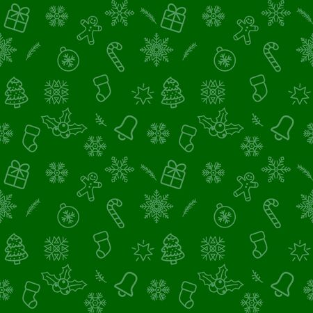 Christmas pattern background with illustrations of lots of Christmas icons. Seamless Christmas winter background. vector illustration.