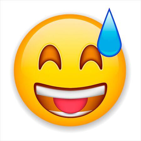 Sonriente alegre se ríe con la boca abierta. Cara de emoticon sonriente feliz. Bola sonriente positiva. Ilustración de vector aislado sobre fondo blanco.