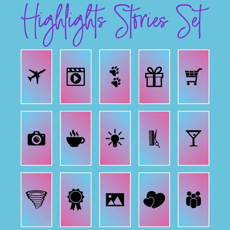 Highlights Stories Covers Icons. Perfect for bloggers. Set of 20 highlights covers in pink and copper colours. Fully editable, scalable vector file.