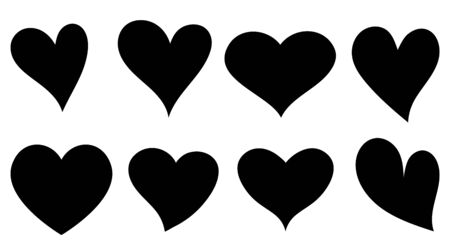 Heart hand drawn different red icons set, collection of hearts - stock vector Stock Illustratie