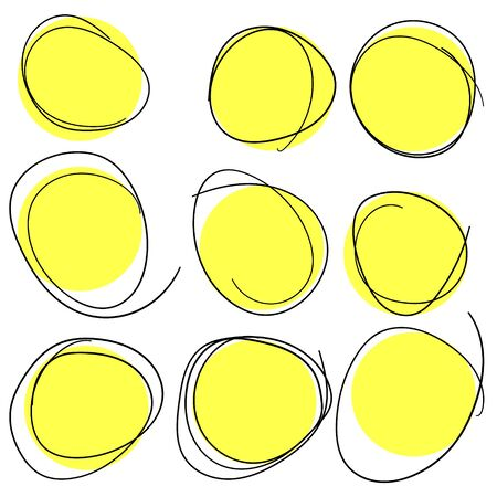 Hand drawn circle line sketch set. Vector circular scribble doodle round circles for message note mark design element.