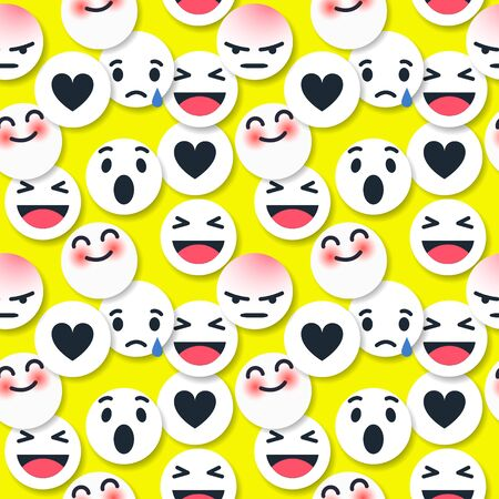 Vector seamless patterns. Trendy endless unique wallpaper with design elements. Graffiti happy emoji sprayed in black and white Stock Illustratie