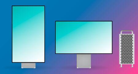 Realistic computer monitor display mock up vector illustration.