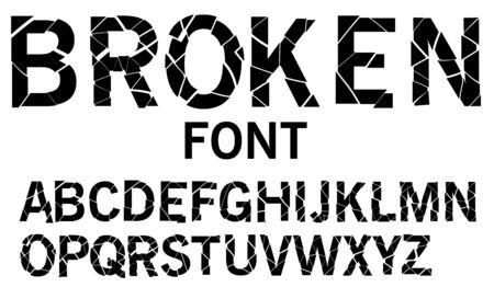 Cracked alphabet vector, broken font Illustration