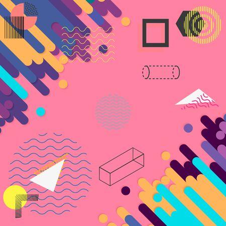 Set of geometric shapes. Memphis design, retro elements for web, vintage, advertisement, commercial banner, poster, leaflet, billboard, sale. Collection trendy halftone vector geometric shapes. Illustration