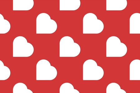 Seamless vector pattern. Background texture in geometric ornamental style. Red hearts.