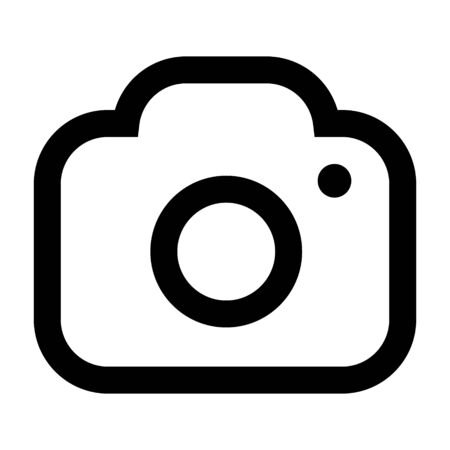 Camera icon vector illustration. Isolated pohotocamera symbol. Photo camera line concept. Photo gadget graphic design. Camera pictogram on grey background. Stock Illustratie