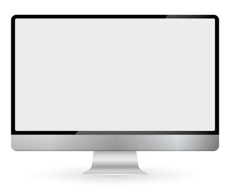 Realistic computer monitor isolated on transparent background. Vector mockup. Vector illustration. Stock Illustratie