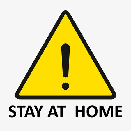 shelter in place. staying at home with self quarantine to help slow outbreak and protect virus spread. a man wearing medical mask and self isolation in his home with restricted area alert sign.