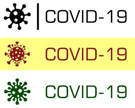 Covid-19 Coronavirus concept inscription typography design  . World Health organization WHO introduced new official name for Coronavirus disease named COVID-19, dangerous virus vector illustration.