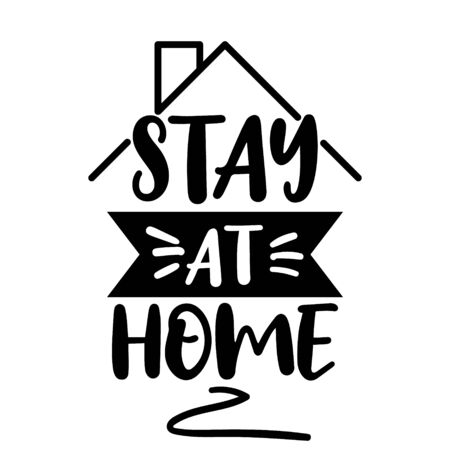 Cute vector hand drawn lettering about coronavirus, Covid-19, Stay Home, work in home. Pandemic protection. Quarantine positive doodle icons, home elements. Isolated on white background Ilustrace