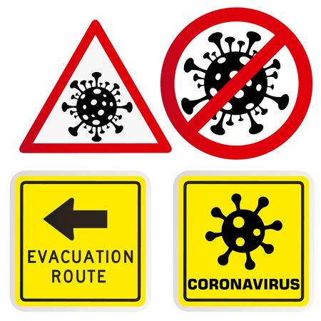 Coronavirus warning and attention icon. Exclamation mark health danger sign, COVID-19 or 2019-nCoV epidemic and pandemic symbol. Simple flat  template for medical Infographic. Isolated vector Ilustrace