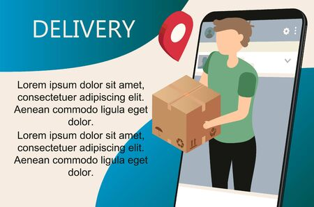 Isometric flat vector landing page template of express delivery service, courier service, goods shipping, food online ordering. Free delivery, online buy, ecommerce shop logistic illustration