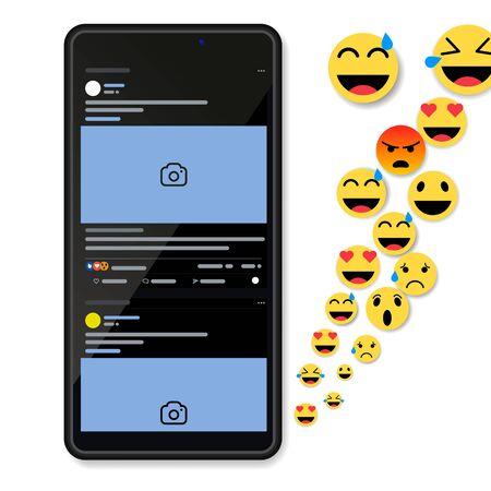 Social network notifications on mobile phone screen - new chat messages, new article likes and appreciations in Black Color Theme on Frameless Smart Phone Screen Isolated on White Background.