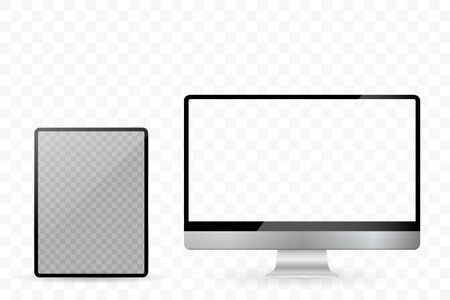 Tablet and desktop computers with white screen on a white background
