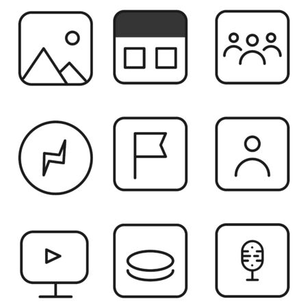 social media interface application icons, modern design icons, buttons, signs, symbols for web and mobile apps, social media network, blogging icons. Vector illustration