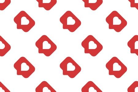 Social media notification sign icon seamless pattern background. Like, comment, follow vector illustration on white isolated background. Click button business concept. Ilustrace
