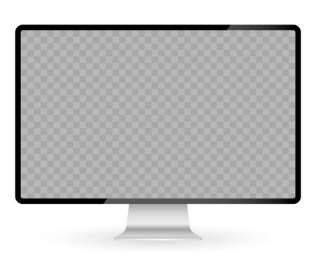 Realistic black modern thin frame display computer monitor vector illustration. Ilustrace