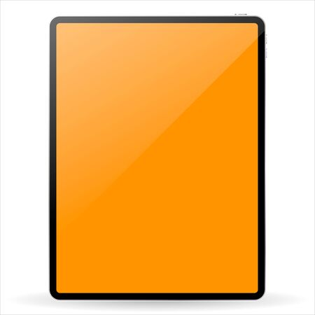 Modern black tablet computer with blank horizontal screen isolated on white background. Vector illustration