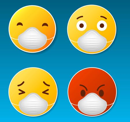 Smiles in medical mask, concept icon. Ilustrace