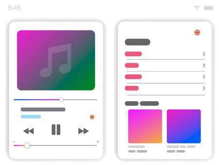 Music Player UI app design, vector illustration smartphone screen