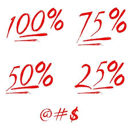 100% percent emoji. One hundred percent sign. Vector Ilustrace