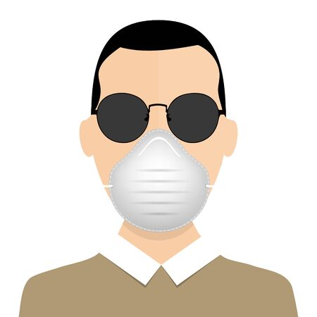 Medical mask. Healthy man in medical protection mask. Caring for health at flu epidemic time. Vector illustration, flat design, cartoon style. Isolated background. Ilustrace