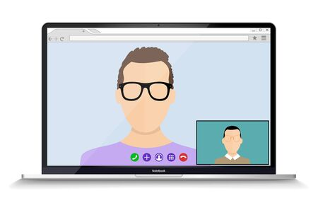 Remote working with a business meeting held via a video conference call. Teams joining via laptop and mobile phone.