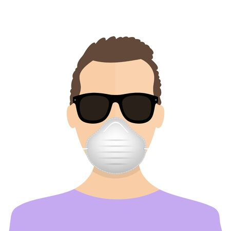 Breathing mask on face flat vector icon for apps and websites. Man in mask icon. Virus protection. Coronavirus atack icon. EPS 10