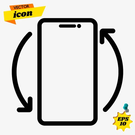 Mobile rotate vector icon, phone rotation symbol. Modern, simple flat vector illustration for web site or mobile app