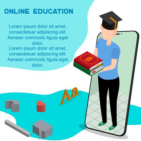 Online education or distance exam with isometric character internet course e-learning from home online studying on Smartphone with book isometric education landing page isolated vector illustration