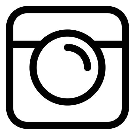 Black Line Photo Camera icon Vector Logo. Icon Button. Flat Social insta Media Sign. Ilustrace